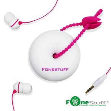 ★甜甜圈外型設計★ Fonestuff FS-6002收線式耳塞耳機(白色粉線)