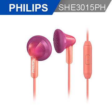 【PHILIPS 飛利浦】手機用耳塞式耳麥SHE3015PH(蜜桃粉)