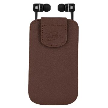 【TCSTAR保固一年服務】5.2吋手機皮套附入耳式耳機麥克風