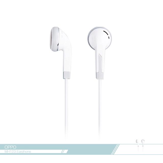 OPPO 原廠 MH123 高品質耳塞式耳機 3.5mm各廠牌適用/ 線控接聽鍵/ 免持聽筒 - 白色款