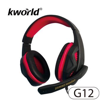 ▼2017 KWorld 最新電競耳麥 加重低頻▼廣寰頭戴電競耳麥G12《黑紅》