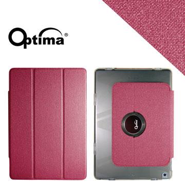 Optima iPad Air Smart 360 亞麻紋保護套-莓紅色