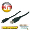 曜兆DIGITUS USB2.0轉microUSB2.0*3公尺手機傳輸線