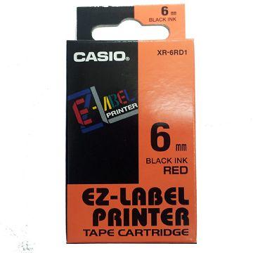 【福利品回饋】CASIO 標籤機專用色帶-6mm紅底黑字XR-6RD1