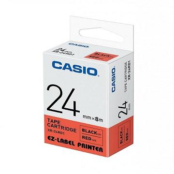 CASIO 標籤機專用色帶-24mm【共有6色】紅底黑字XR-24RD1(KL-G2TC標籤機款適用)
