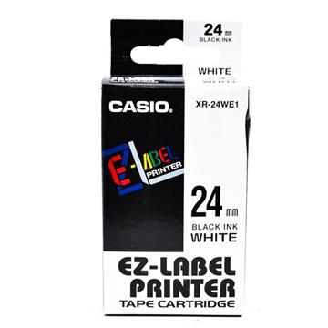 CASIO 標籤機專用色帶-24mm【共有6色】白底黑字XR-24WE1(KL-G2TC標籤機款適用)