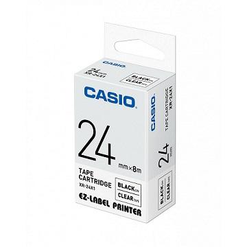 CASIO 標籤機專用色帶-24mm【共有6色】透明底黑字XR-24X1(KL-G2TC標籤機款適用)