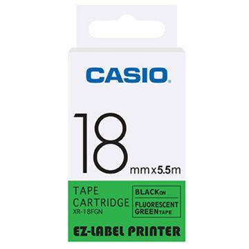 CASIO 標籤機專用特殊色帶-18mm【瑩光色材質】瑩光綠底黑字XR-18FGN(5.5公尺)