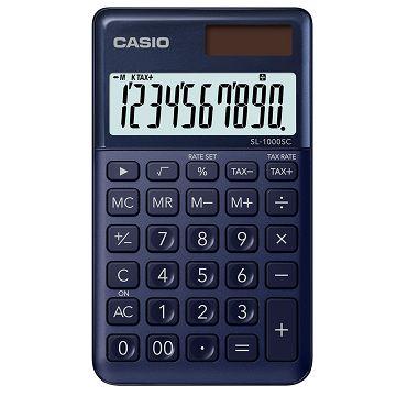 【CASIO】10位元璀璨晶耀攜帶型計算機-科技藍 (SL-1000SC-NY)