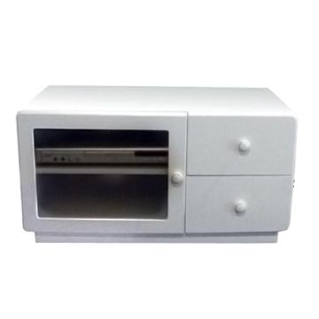 【悅家居】晶面時尚雙抽單玻璃門電視櫃白色17010238