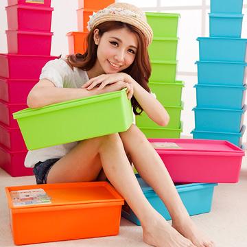 《哇沙米》小工匠萬用韓版紛彩糖果色可疊收納箱(PP款)(1大2中4小)