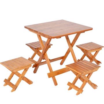 《哇沙米》楠竹折疊桌1桌4椅ZZZ-90(M號)