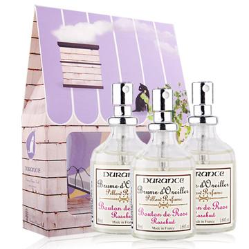 DURANCE朵昂思 枕頭香水-玫瑰花蕾(50ml)X3-加贈品牌禮盒