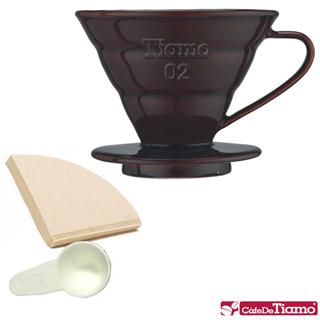 Tiamo V02 1-4人份陶瓷濾杯附濾紙40枚入(咖啡色) - HG5032