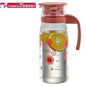 Tiamo 1215玻璃冷水壺 1200ml-花草紅(HG2107)