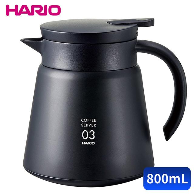 【HARIO】不銹鋼保溫咖啡壺-黑 800ml