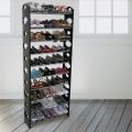 可調式十層鞋架-黑色(附送防塵罩)
