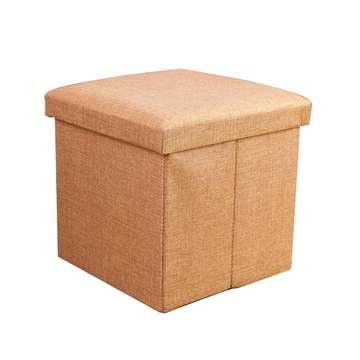 耐重簡約麻布收納椅38cm(米色)