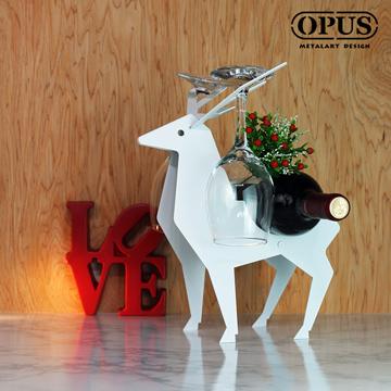 OPUS東齊金工 北國之歌-馴鹿酒架(白) 金屬造型紅酒櫃 客廳酒托裝飾酒瓶展示架高腳杯架 WR-de06(W)