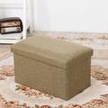 長方簡約麻布收納椅(綠色)