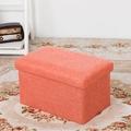 長方簡約麻布收納椅(橘色)