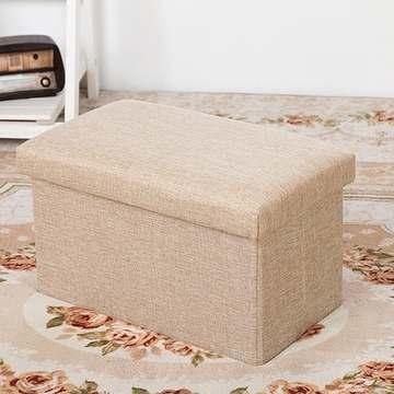 長方簡約麻布收納椅(卡其色)