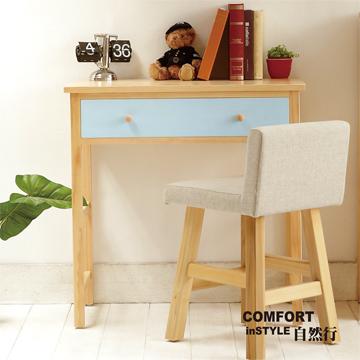 CiS [自然行] 實木傢俱 多機能書桌 兩用桌W90cm (原木鄉村藍)