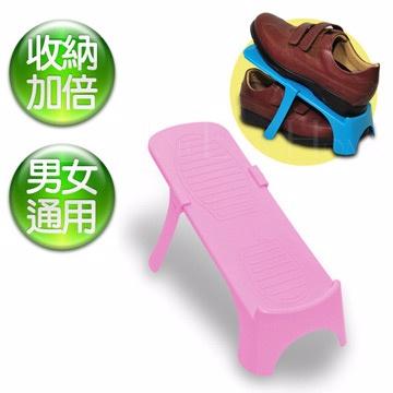 《真心良品》馬卡龍可調式專利鞋架-藍(18入)