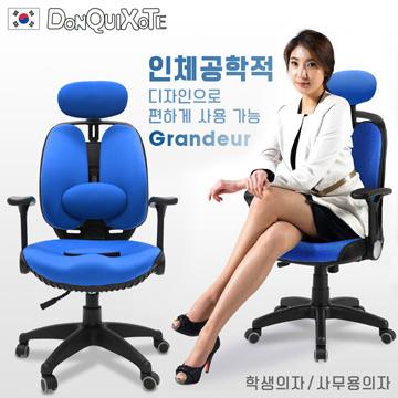 【DonQuiXoTe】韓國原裝Grandeur雙背透氣坐墊人體工學椅-海藍
