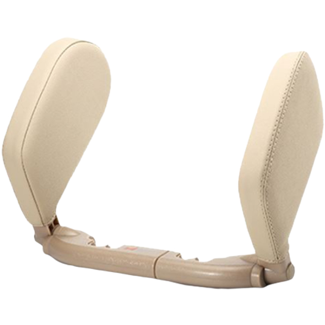 車用睡覺側靠枕頸枕 (米) 皮革兩側支撐頭枕 車線色可選