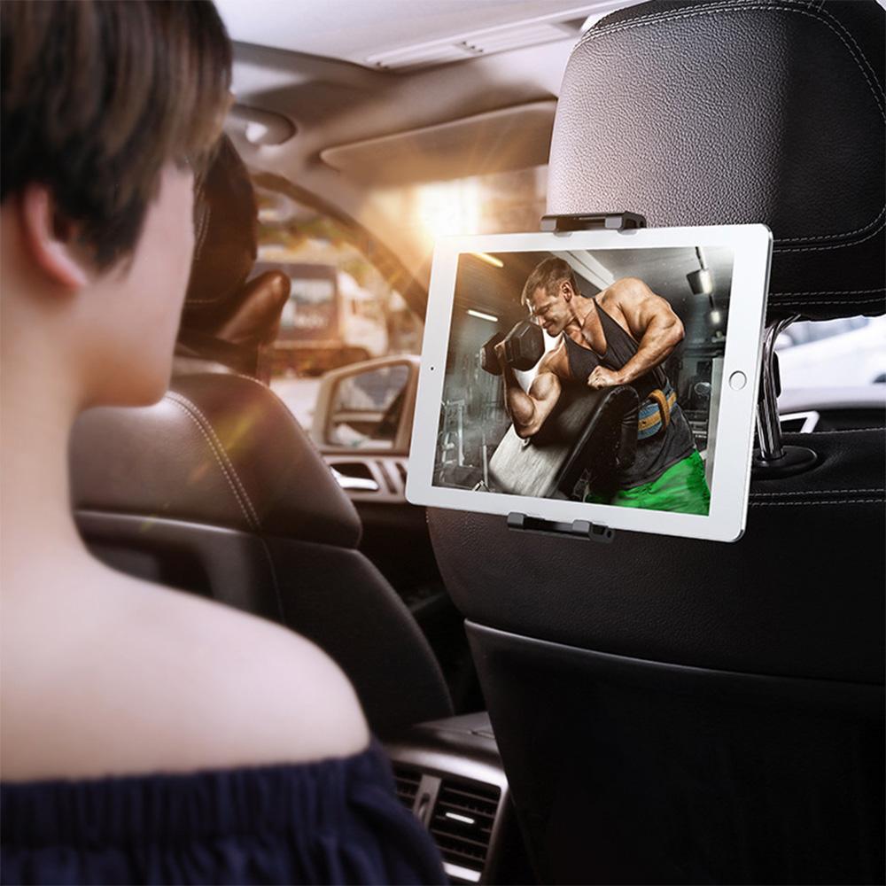 【BASEUS】倍思汽車後座頭枕卡扣式車用旋轉手機支架/平板支架 (黑色)