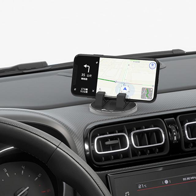 3D Air 創意夾角立體旋轉集線車用/中控台/桌面手機支架 (灰色)