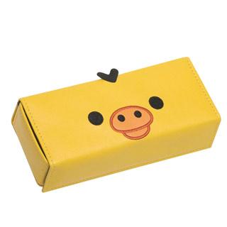 絕版Rilakkuma拉拉熊臉型皮製眼鏡盒。小雞(黃)