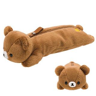 Rilakkuma拉拉熊基本款毛絨筆袋包(新版)。蜜茶熊