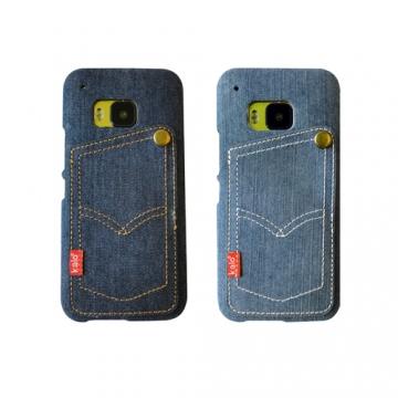 Kalo 卡樂創意 hTC One M9 個性丹寧卡片口袋保護殼