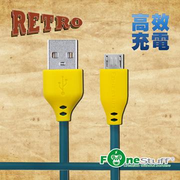 FONESTUFF復古玩色系列Micro USB傳輸線-孔雀綠