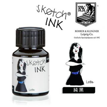 德國 Rohrer & Kingner《Sketch Ink 速寫墨水》Lotte / 純黑 / 50ml