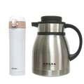 AWANA不銹鋼彩色真空咖啡壺1.2公升 +附扣彈跳杯420ml (白色)