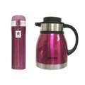 AWANA 附扣彈跳杯420ml (紫色)+彩色真空咖啡壺1.2公升(桃紅)