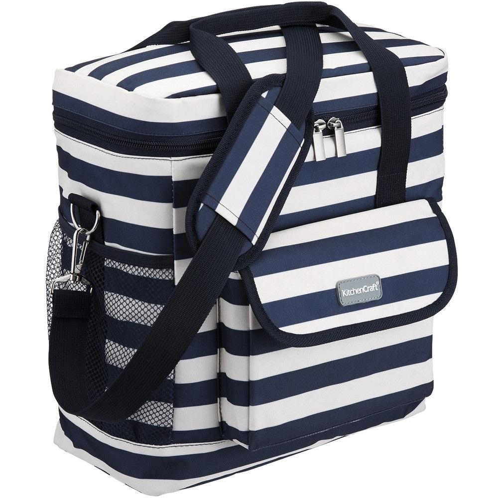 KitchenCraft 肩背雙網層保冷袋(條紋藍12L)