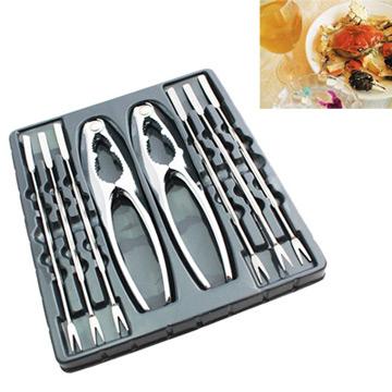 PUSH!餐具不銹鋼吃螃蟹工具蟹夾蟹具核桃夾8件套家庭餐廳適用D33
