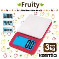 【KOSTEQ】Fruity微量廚房料理電子秤-紅色(3kg)