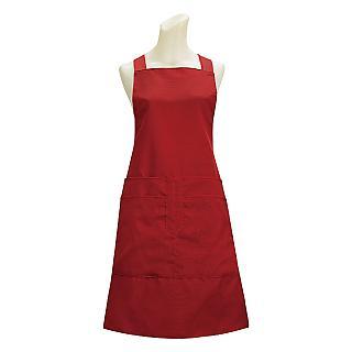 素色四口袋圍裙G517-紅色