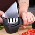 PUSH!廚房用品 304不銹鋼三槽磨刀器陶瓷金剛石磨刀石磨菜刀工具D76-1黑色