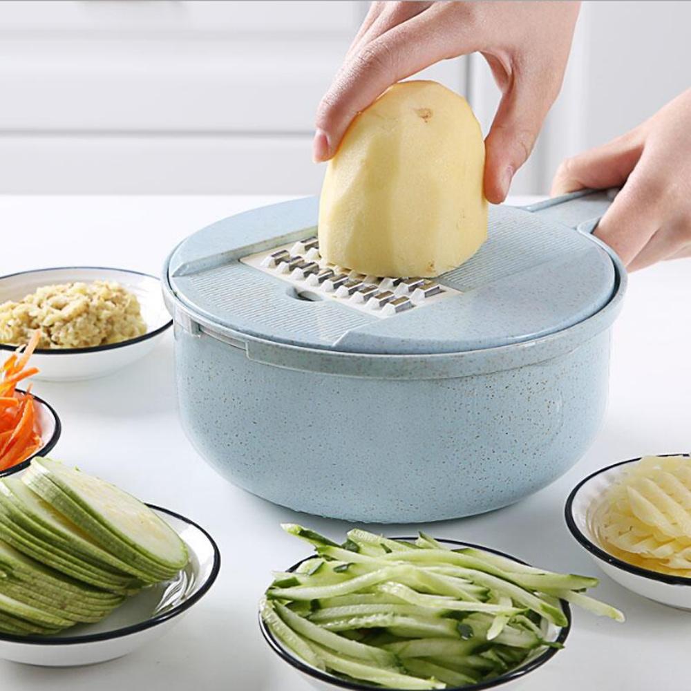 PUSH!廚房用品防切手新款8大功能切菜器擦絲器磨碎沫刨絲器切絲切片D142