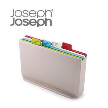Joseph Joseph 檔案夾止滑砧板組-雙面附凹槽(小銀)
