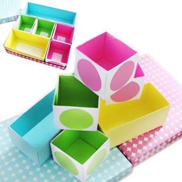 YUNAI韓版DIY彩色繽紛圓點款紙質多用途桌面整理收納盒