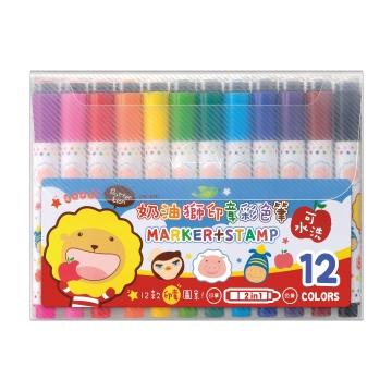 【雄獅畫材】奶油獅12色印章彩色筆