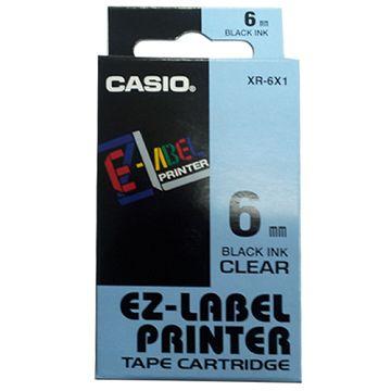 CASIO【共有5色】標籤機專用色帶-6mm透明底黑字XR-6X1