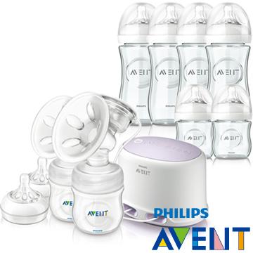 PHILIPS AVENT 輕乳感專業型雙邊電動吸乳器+親乳感玻璃防脹氣奶瓶(120ml*2+240ml*4)